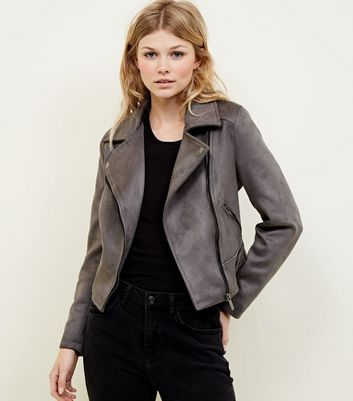 Petite Dark Grey Suedette Biker Jacket