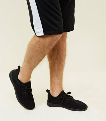 Black Ribbed Sports Trainers