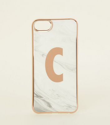 White Marble Effect C Initial iPhone 6/6s/7/8 Case