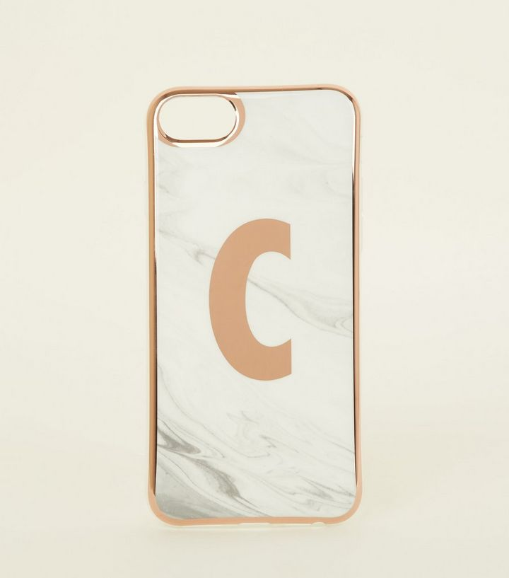 White Marble Effect C Initial iPhone 6 6s 7 8 Case  9509d93e8