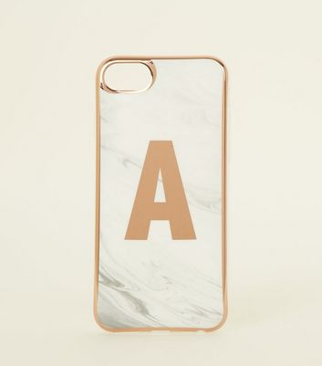White Marble Effect A Initial iPhone 6/6s/7/8 Case