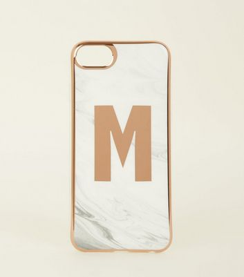 White Marble Effect M Initial iPhone 6/6s/7/8 Case