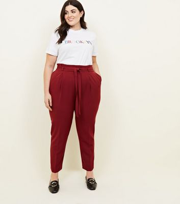 Curves Burgundy Paperbag Waist Tapered Trousers
