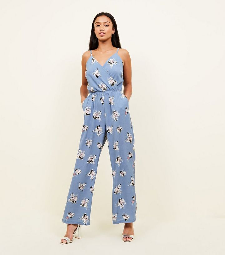 058036868249 Petite Light Blue Floral Wide Leg Jumpsuit