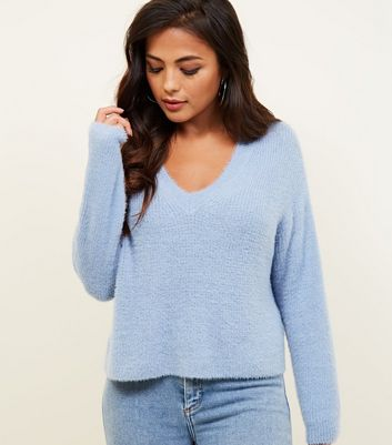 Petite Pale Blue Fluffy V-Neck Jumper