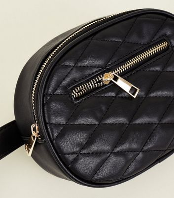 Black Quilted Round Belt Bag New Look