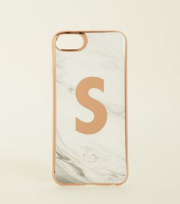 White Marble Effect S Initial iPhone 6/6s/7/8 Case