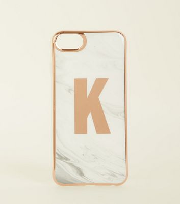 White Marble Effect K Initial iPhone 6/6s/7/8 Case