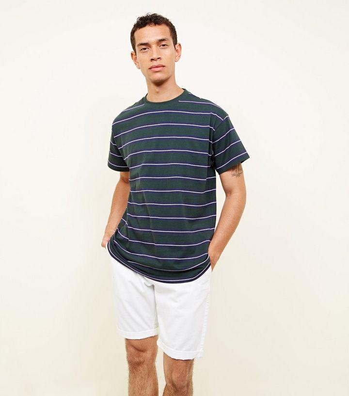 cfc5eac844d27 Dark Green Stripe Oversized T-Shirt