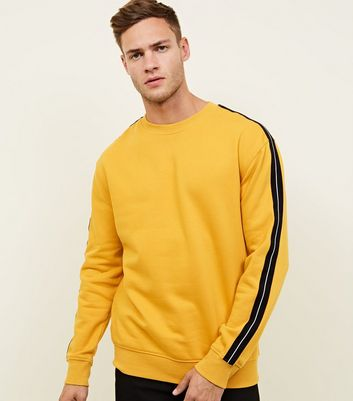 Yellow Tape Side Stripe Sleeve Sweatshirt