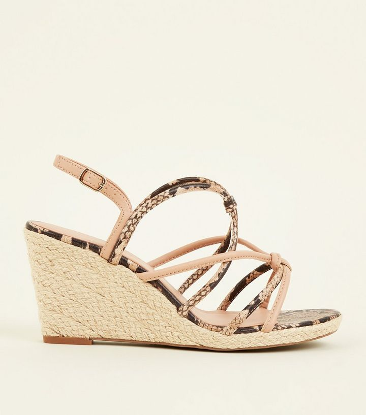 145e4fbf335 Wide Fit Brown Faux Snake Strappy Wedges