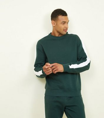 Green Side Stripe Crew Neck Sweatshirt