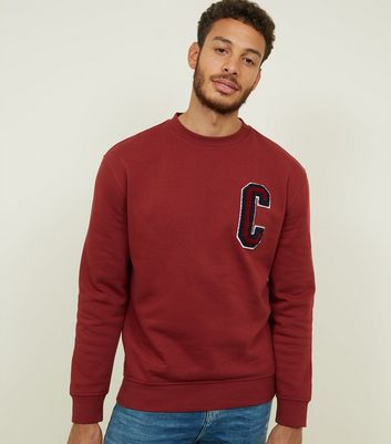 Dark Red C Chenille Appliqué Sweatshirt