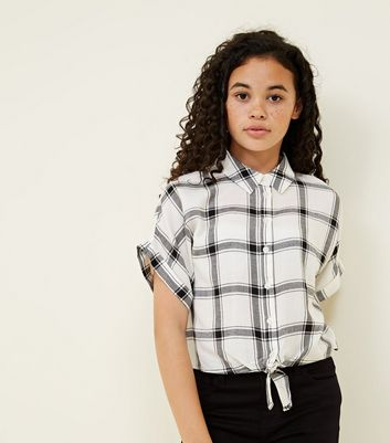 Girls White Woven Check Tie Front Shirt