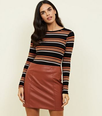 Rust Leather-Look Mini Skirt