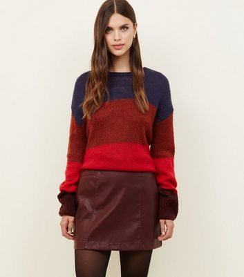 Burgundy Leather-Look Mini Skirt
