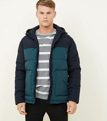 Teal Hooded Colour Block Puffer Coat