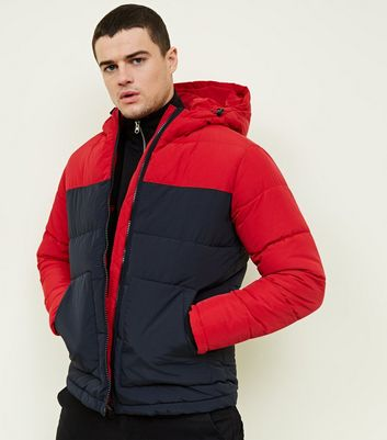 Red and Navy Colour Block Puffer Jacket