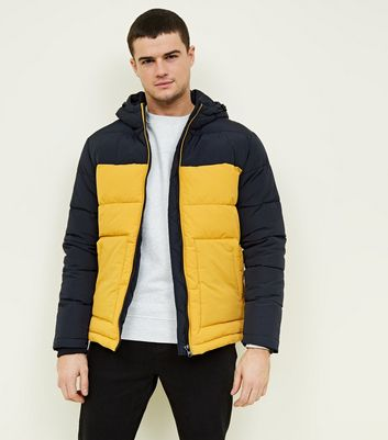Yellow and Navy Colour Block Puffer Jacket