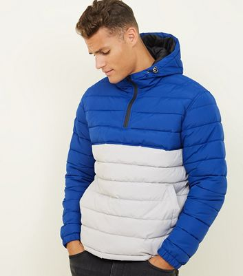Silver and Blue Padded Colour Block Jacket