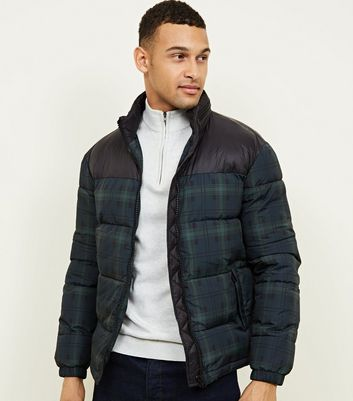Navy Check Puffer Jacket
