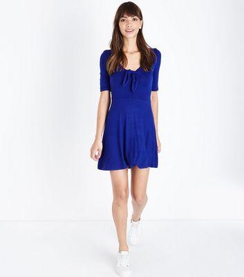 Innocence Blue Tie Front Dress New Look
