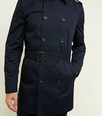 shop for Men's Navy Double Breasted Mac New Look at Shopo