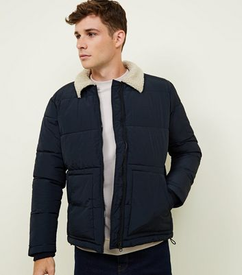 Navy Borg Collar Puffer Jacket
