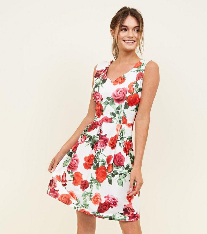 92749b9884 Mela White Floral Skater Dress