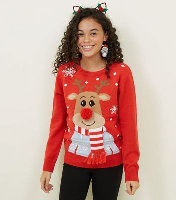 Girls Red Knit 3D Reindeer Christmas Jumper