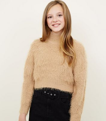 Girls Camel Fluffy High Neck Jumper