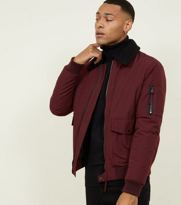 Burgundy Borg Collar Aviator Jacket