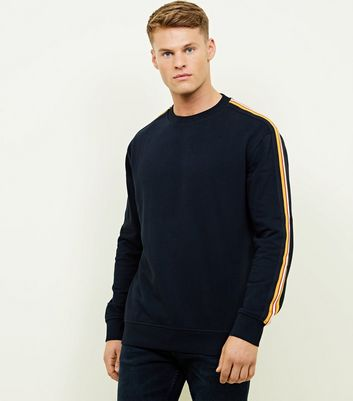 Navy Side Sleeve Stripe Tape Detail Sweatshirt