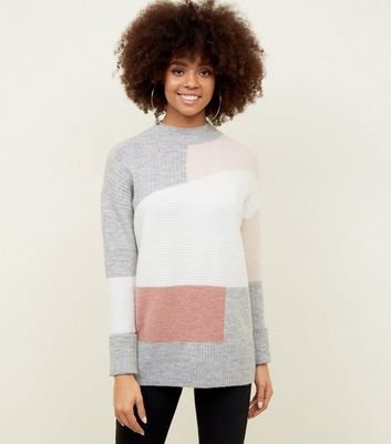 Pink High Neck Patchwork Knit Jumper