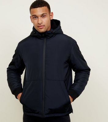 Navy Borg Hood Zip Through Jacket