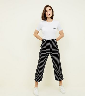 Cameo Rose Black Stripe Button Culottes New Look