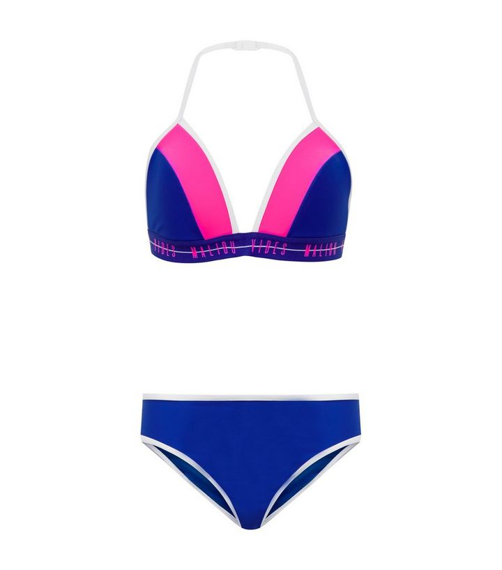 1d24da19d46 Girls Blue and Pink Malibu Vibes Scuba Bikini | New Look