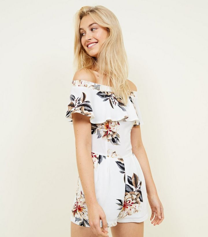05649b0b689 Cameo Rose White Floral Bardot Playsuit