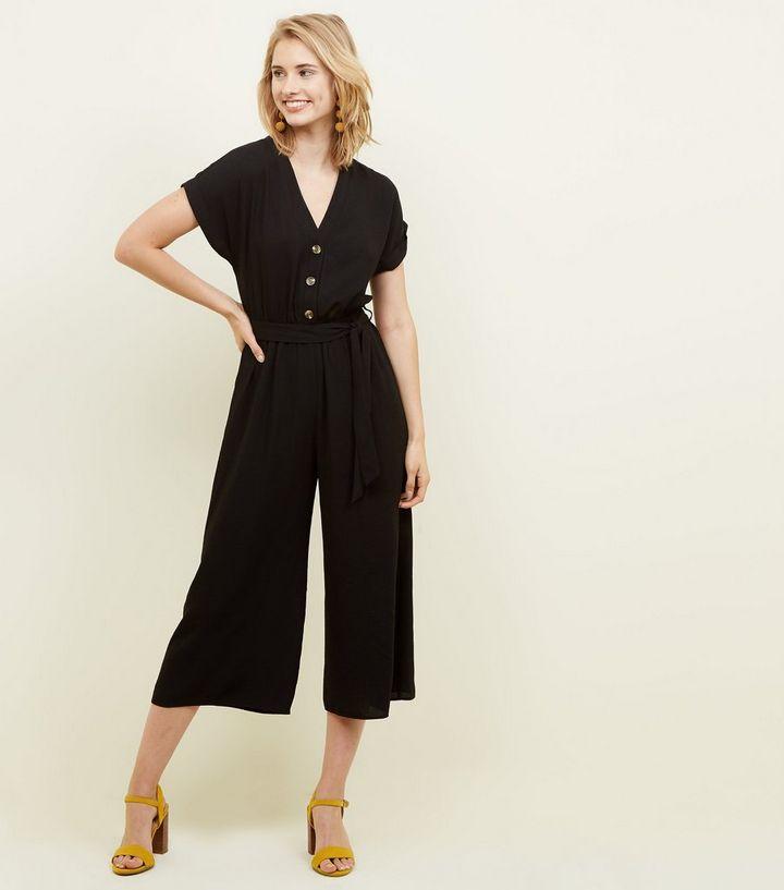 new arrivals store in stock Combinaison jupe-culotte noire boutonnée effet lin Ajouter à la Wishlist  Supprimer de la Wishlist