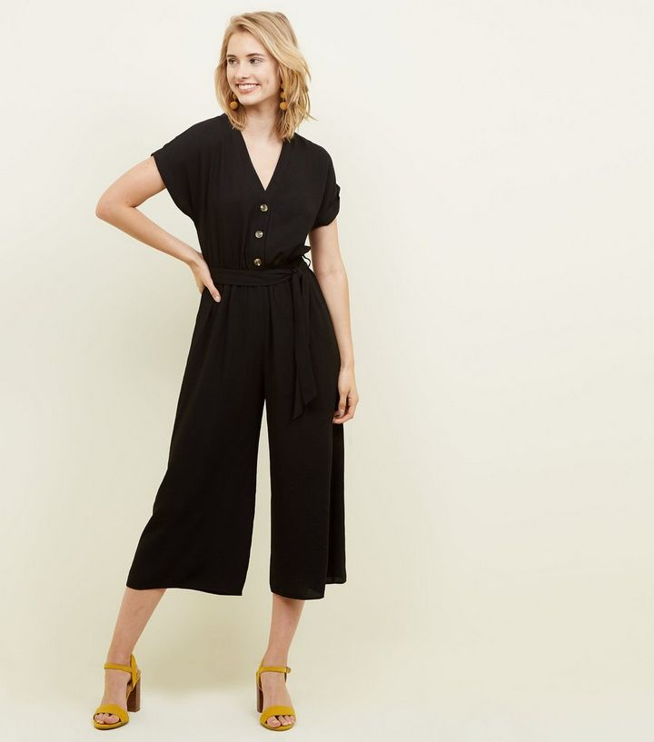 adec3a57403 Black Linen-Look Button Up Culotte Jumpsuit