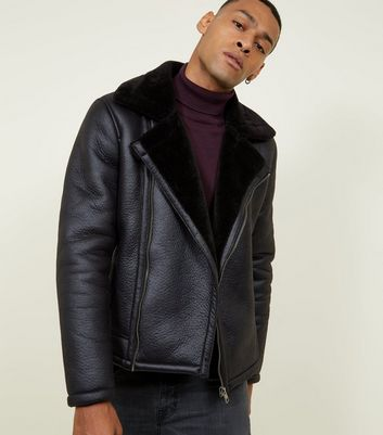 Black Faux Shearling Trim Aviator Jacket