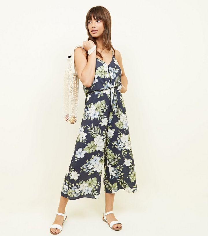 f1daf18c08d Blue Tropical Print Tie Front Culotte Jumpsuit