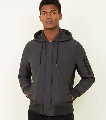 Dark Grey Hooded Bomber Jacket