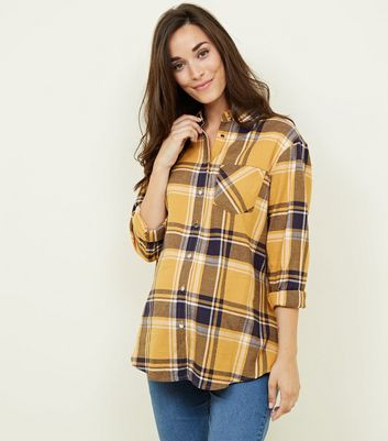 Maternity Yellow Check Long Sleeve Shirt