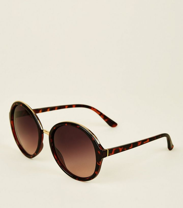 bde1c6098425a Dark Brown Tortoiseshell Round Sunglasses