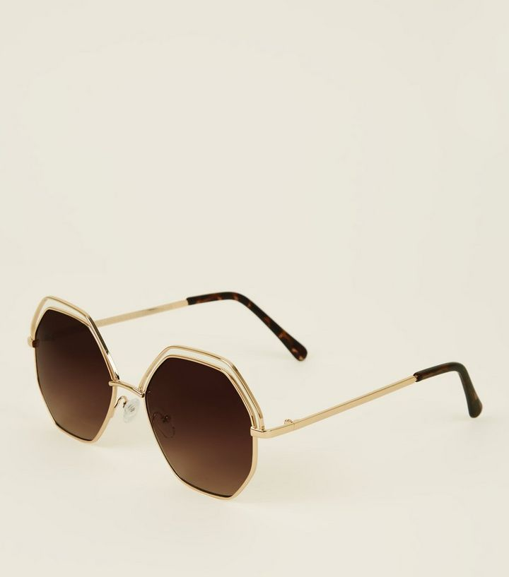 gold hectagon lens sunglasses new look