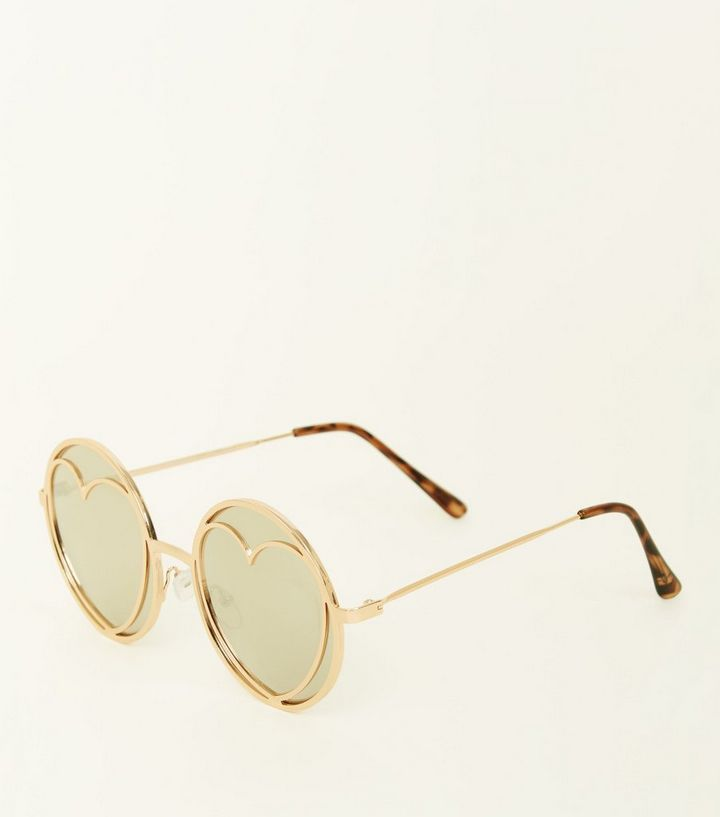 9233f316b0 Gold Heart and Round Mirrored Lens Sunglasses