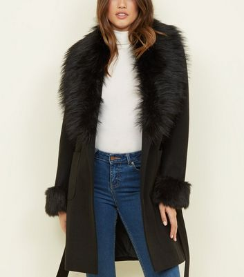 Black Detachable Faux Fur Trim Coat