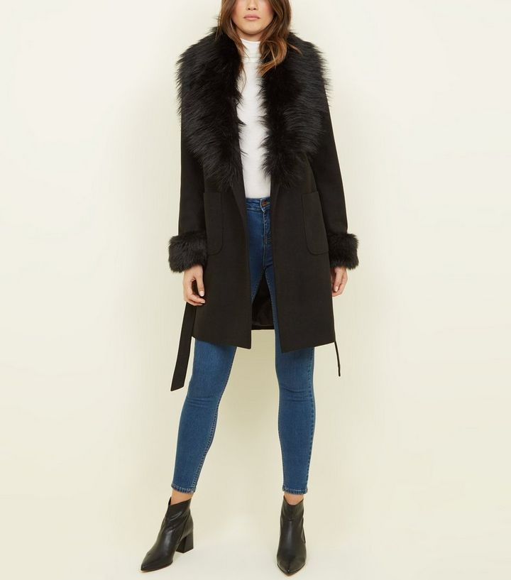search for genuine selected material rock-bottom price Black Detachable Faux Fur Trim Coat Add to Saved Items Remove from Saved  Items