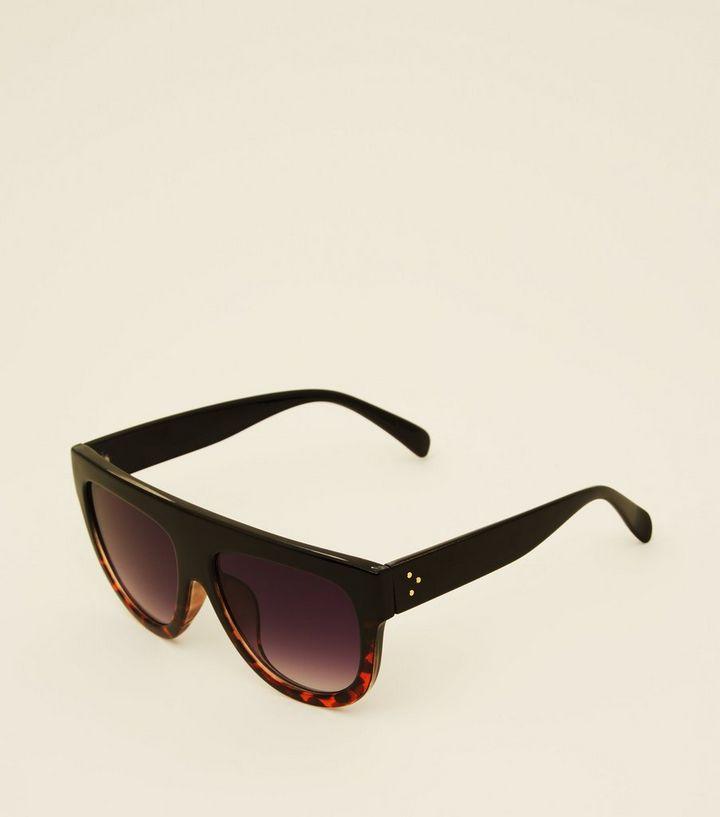 1d7bae1eb50 Black Tortoiseshell Flat Top Sunglasses